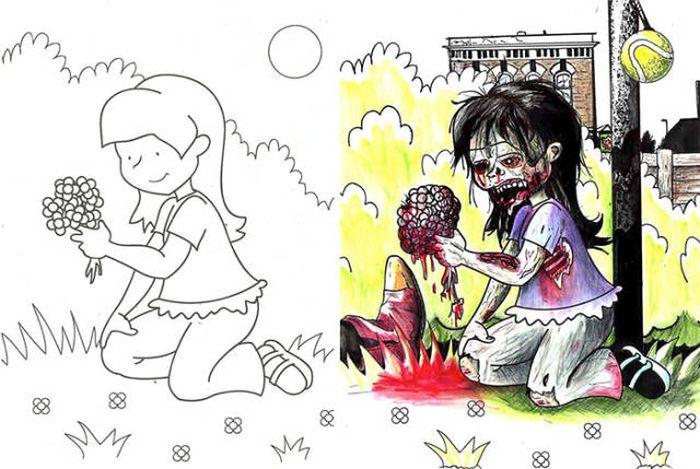 Взрослый взгляд на детские раскраски (27 фото)