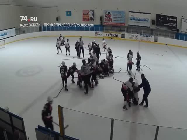 Массовая драка юных хоккеистов