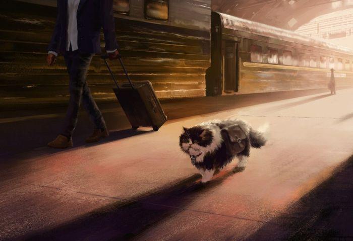 Похождения кота-путешественника (9 картинок)