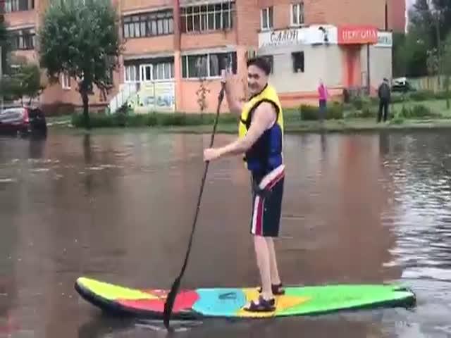 Сапбординг в затопленном Красноярске