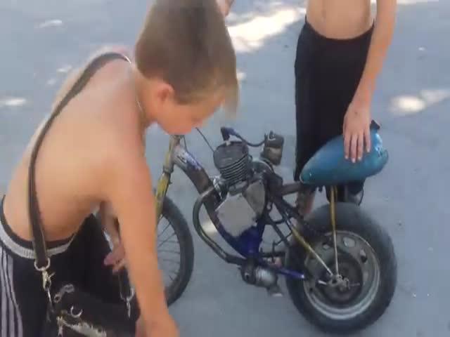 Самодельный мопед из детского велосипеда