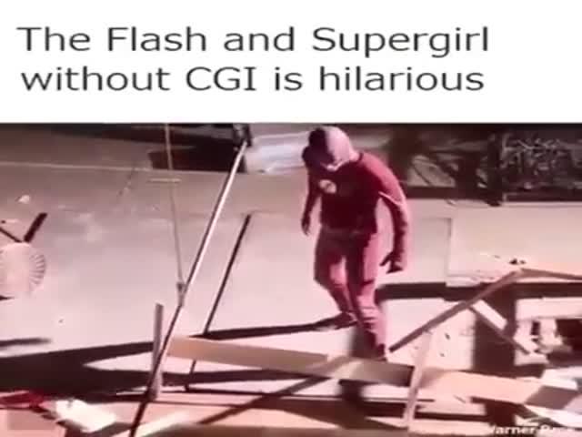 Фрагмент сериала «Супергерл» без компьютерной графики