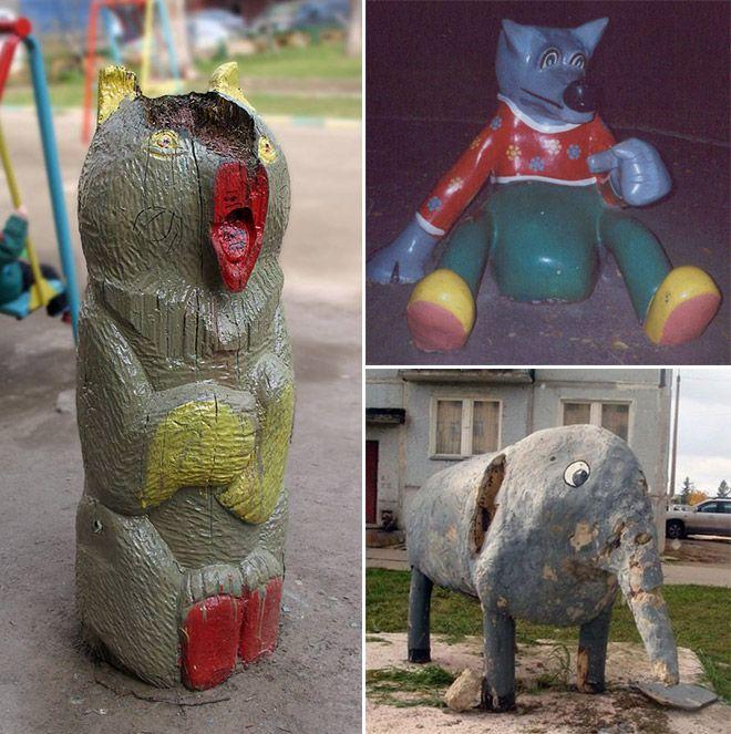 Суровые детские площадки в России (14 фото)