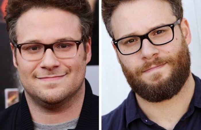 Известные актеры с бородой и без (16 фото)