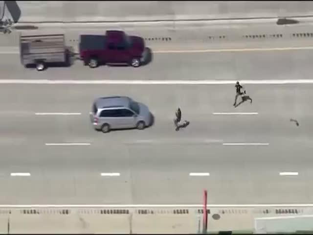 Подозреваемый забрался на крышу машины, убегая от полицейских