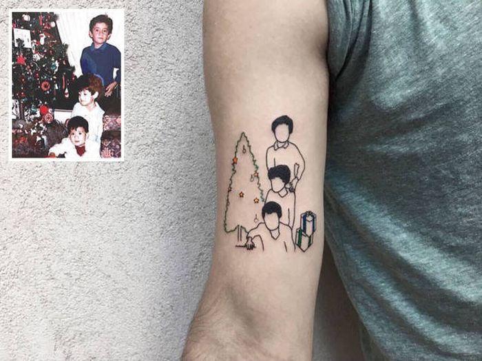 Турецкий тату-мастер превращает памятные фотографии в татуировки (21 фото)