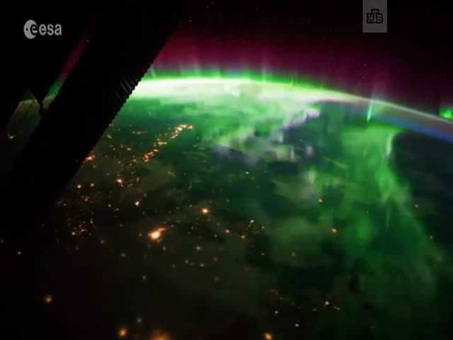 Северное сияние с борта МКС