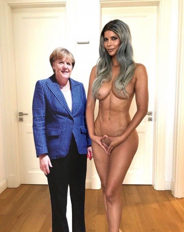 Микаела Шефер в откровенной фотосессии с фигурой Ангелы Меркель (5 фото)
