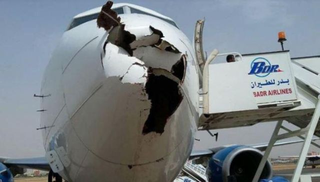 Boeing 737 после встречи со стаей птиц (3 фото)