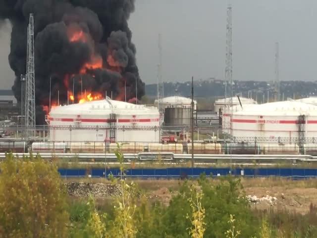 Пожар на заводе «Лукойла» в Нижегородской области