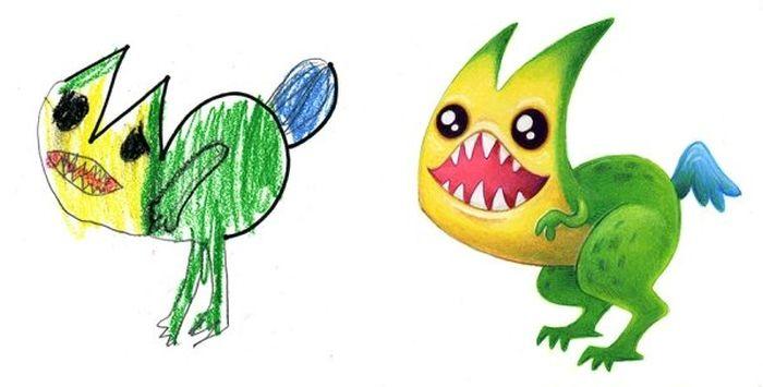 Преображение монстров, созданных детьми (24 фото)
