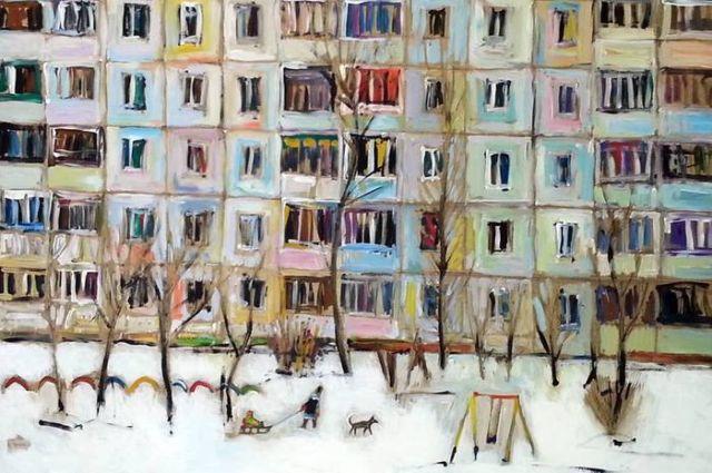 Российские хрущевки в картинах Ильгиза Гимранова (17 рисунков)