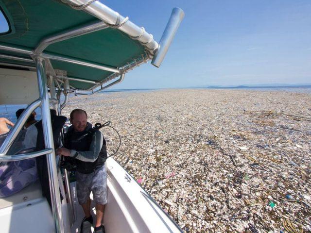 В Карибском море обнаружили остров из пластикового мусора (4 фото)