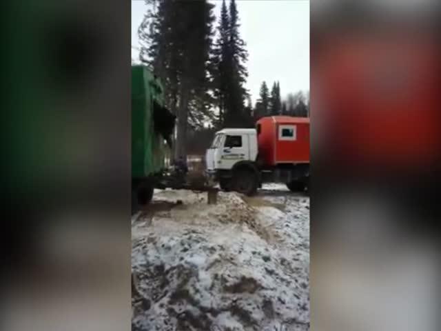 Медведь застрял в окошке вахтового вагончика