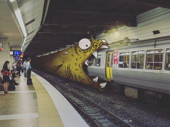 Художник добавляет монстров на обычные фото (17 фото)