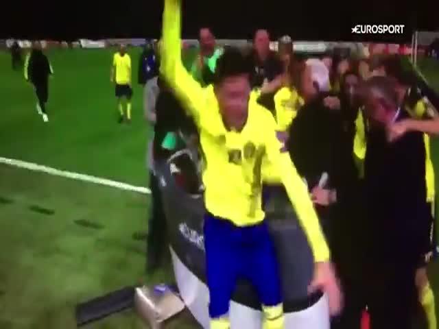 Футболисты сборной Швеции разнесли студию Eurosport