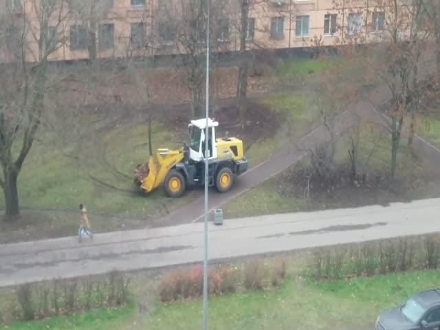 Уборка опавших листьев в Санкт-Петербурге