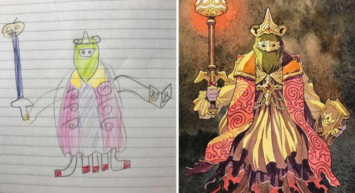 Художник рисует героев аниме на основе рисунков своих сыновей (13 рисунков)