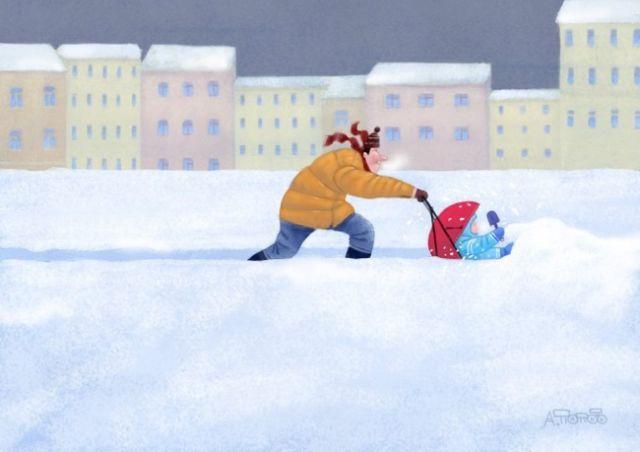 Добрые рисунки питерского художника Андрея Попова (27 рисунков)