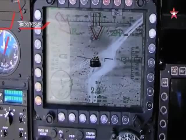 Российский вертолет Ми-28Н «Ночной охотник» уничтожил танк боевиков ИГИЛ