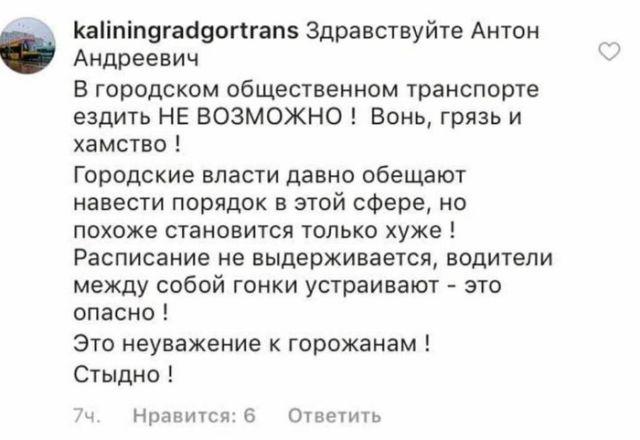 Гортранс пожаловался мэру Калининграда на самого себя (фото)