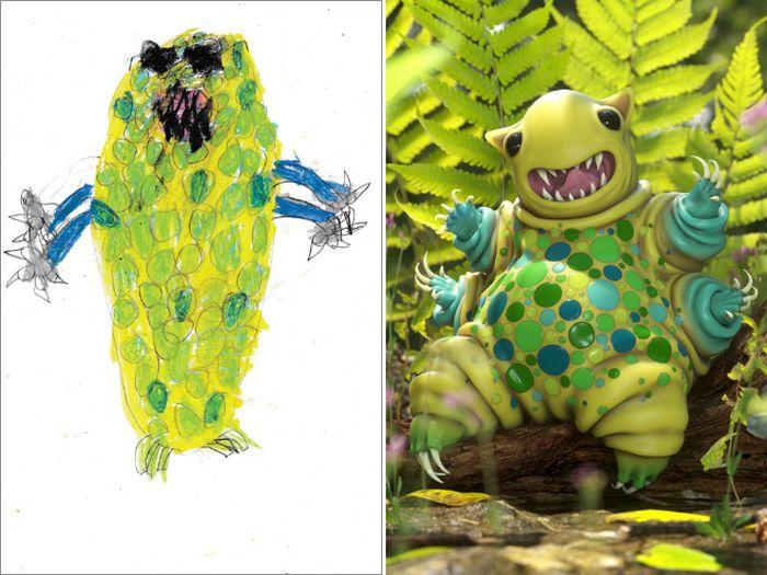 Монстры из детских рисунков (15 фото)