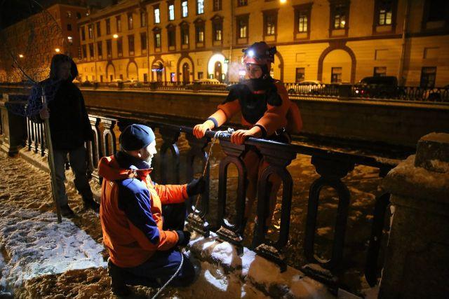 Спасение чайки, вмерзшей в Неву (10 фото)