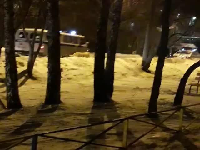Свердловские полицейские конвоируют пойманного алабая
