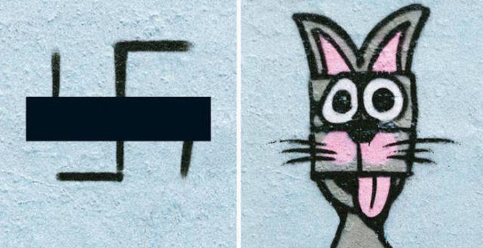Художник превращает свастику в забавные рисунки (12 фото)