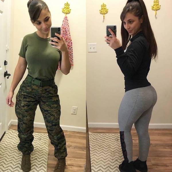 Девушки в форме и без нее (26 фото)