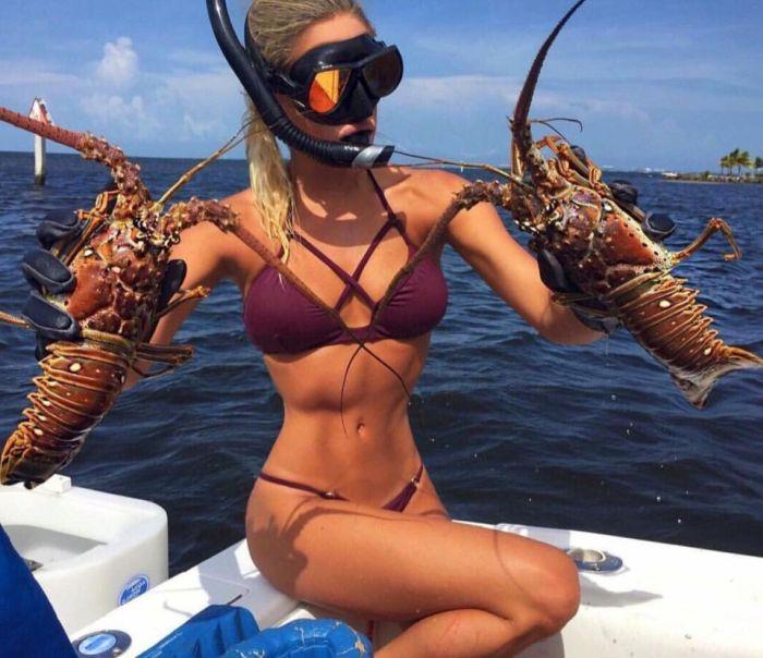 Модель Эмили Ример, всерьез увлекающаяся рыбалкой (15 фото)