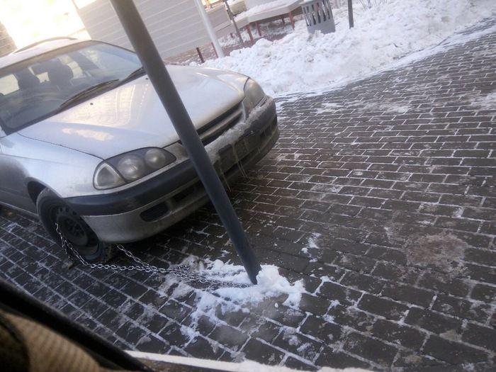 Когда способ избежать наказания за неправильную парковку не сработал (4 фото)