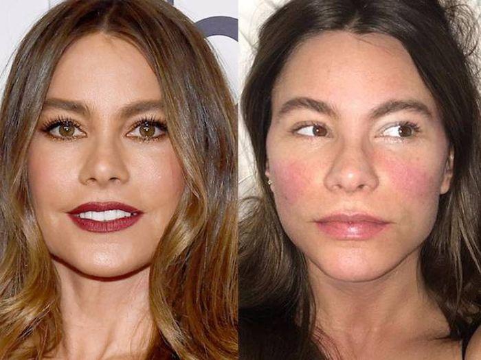 Актрисы с макияжем и без (31 фото)