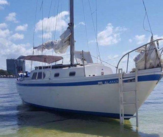 Затонувшая яхта и спасенный друг (4 фото)