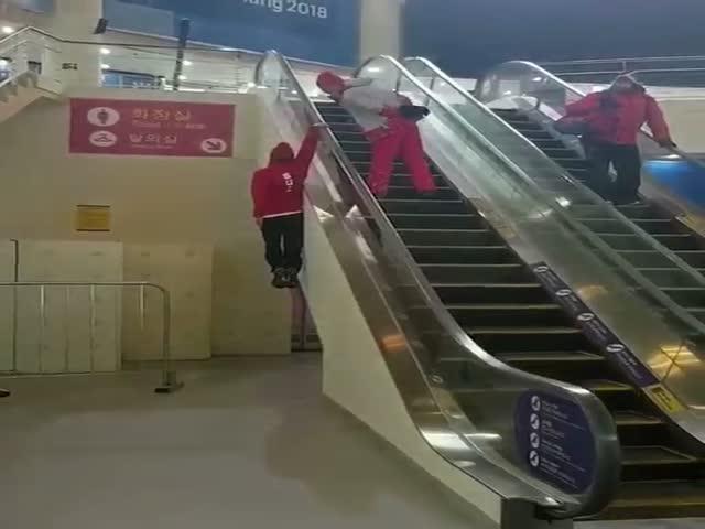 Олимпиец из Швейцарии поднялся на эскалаторе