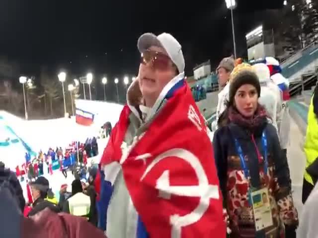 Советский флаг на лыжных состязаниях