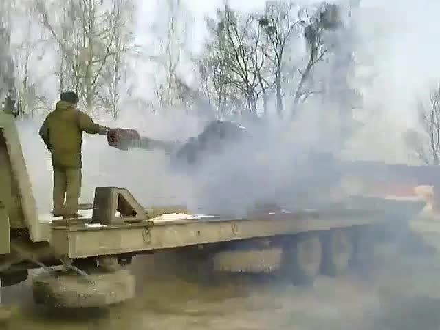 В Черняховске перевернулась гаубица