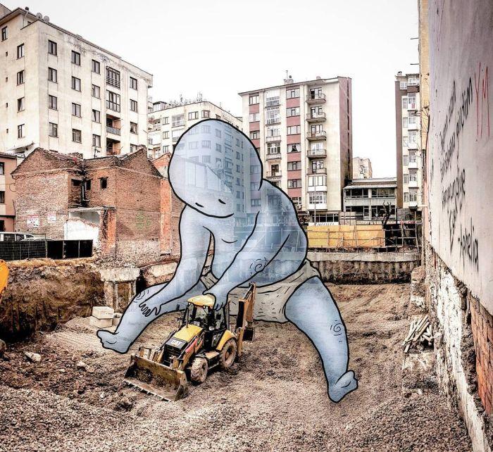 Гиганты в городе – рисунки Хекана Келеша (35 фото)
