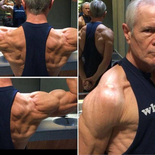68-летний дедушка похвастался стальным прессом (6 фото)