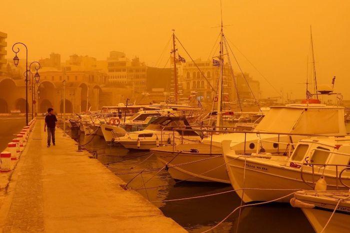 Африканская пыль на острове Крит (8 фото + видео)