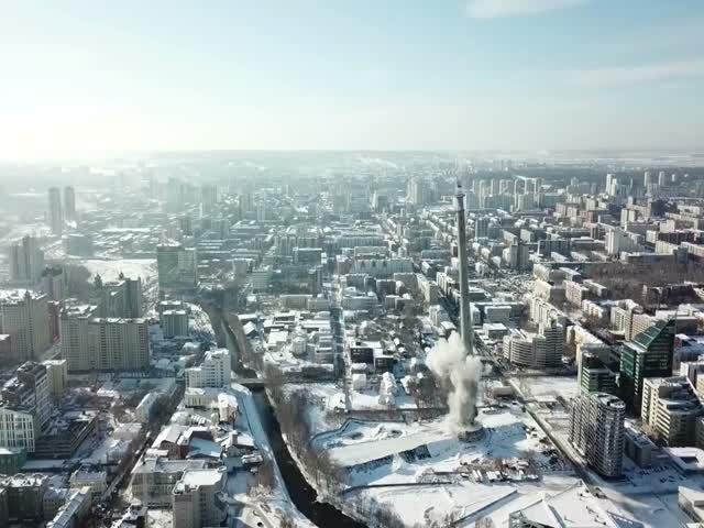 Снос 220-метровой телебашни в Екатеринбурге