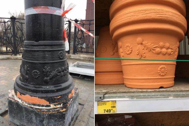 В Калининграде при реконструкции моста использовали цветочные горшки (2 фото)