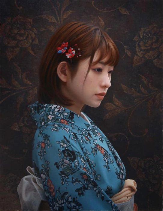 Гиперреалистичные портреты японского художника Ясутомо Ока (14 фото)