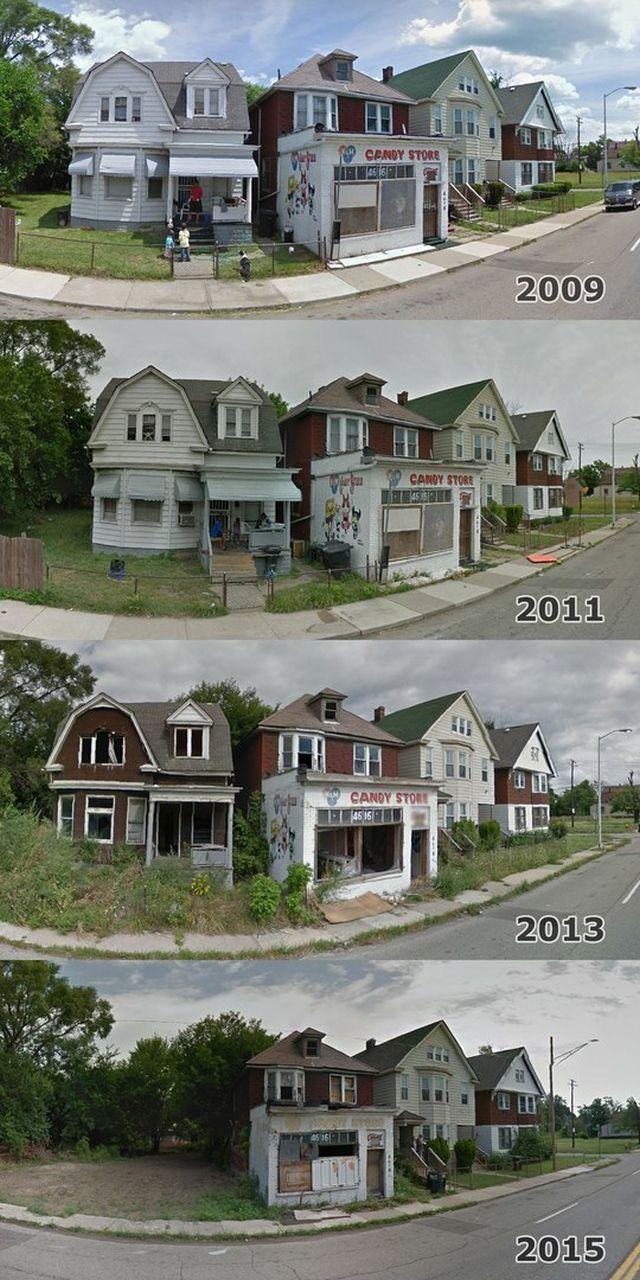 Гетто Детройта тогда и сейчас (6 фото)