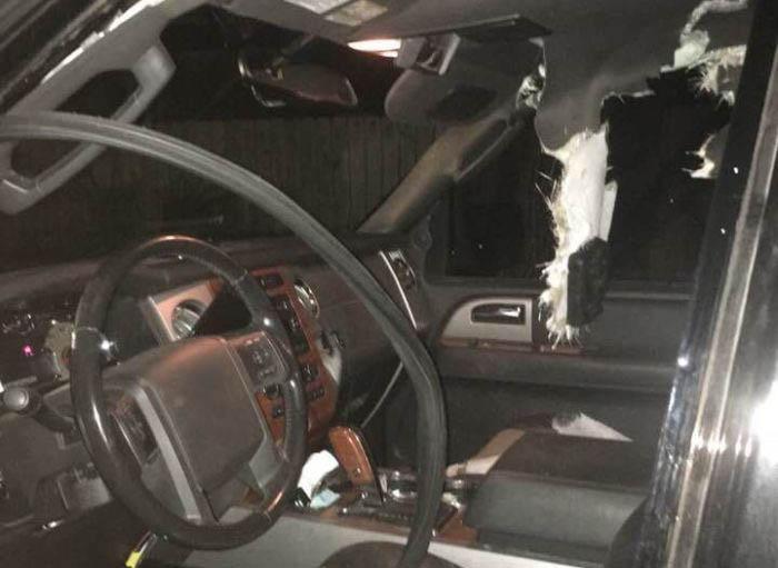 Вот как выглядит салон автомобиля, в котором побывал медведь (4 фото)