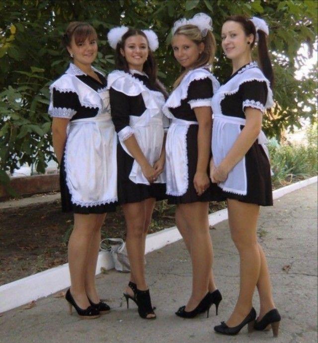 Секс выпускницы в белых фартуках