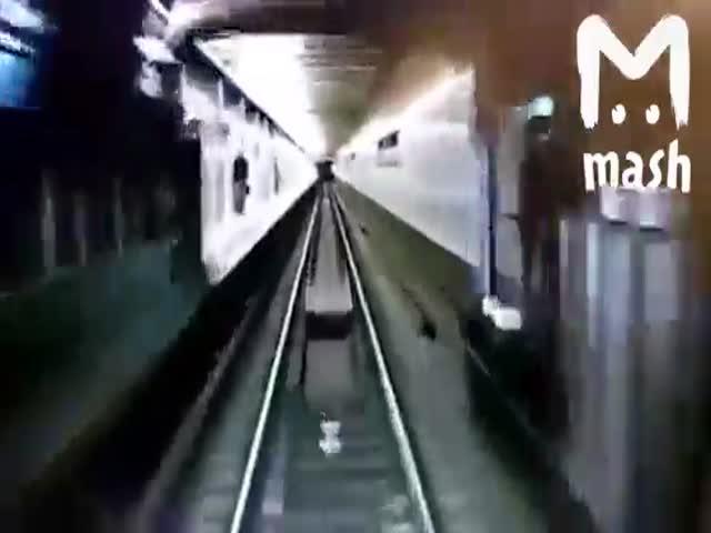 В московском метро парень пытался прыгнуть под поезд