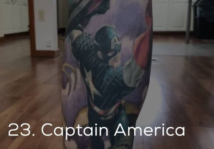 Парень набил на теле рекордное количество татуировок с героями Marvel (35 фото)
