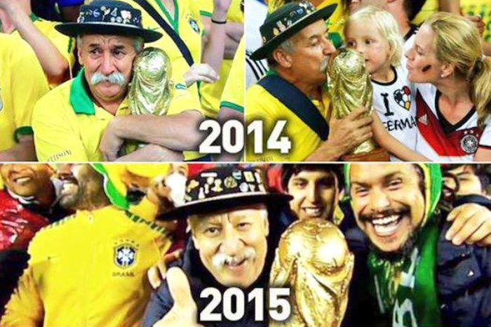 Традицию известного бразильского болельщика продолжают его сыновья (3 фото)