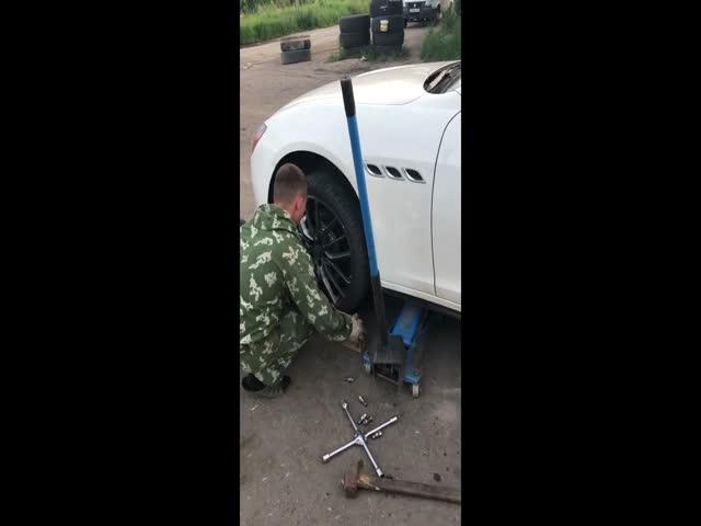 Съем колеса на Maserati